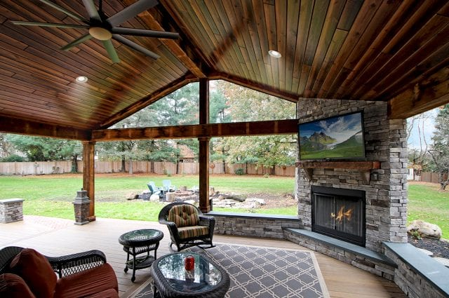 Logan - interior of Timbertech porch with barn wood