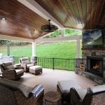 Shaak - Timbertech porch with stone work