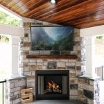 Shaak - Timbertech porch with fireplace