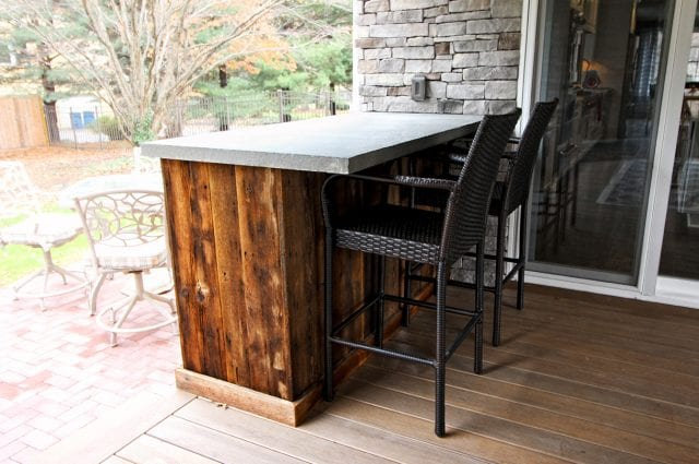 Logan - custom porch with barn wood bar