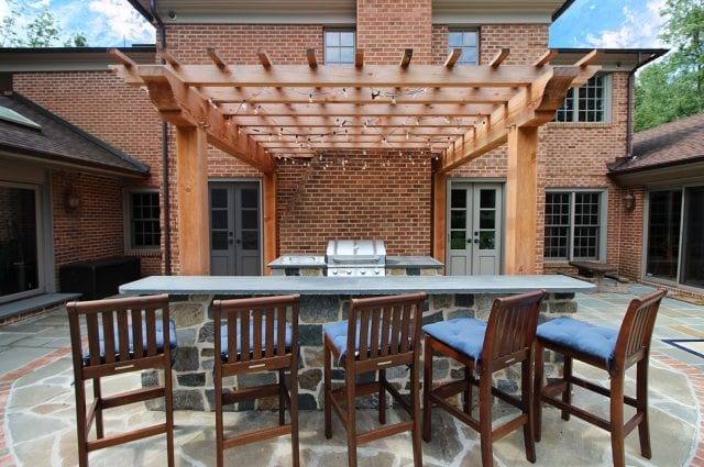McElhaugh - Fir Pergola with flagstone bar counter and grill area
