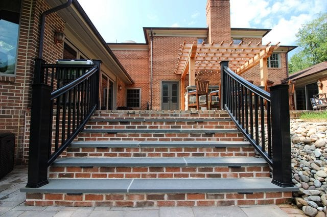 McElhaugh - flagstone staris with brick and curved railing