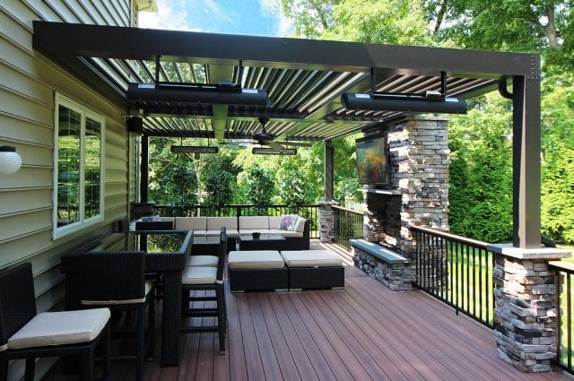 Puchtler - fiberon deck and Arcadia pergola with fireplace