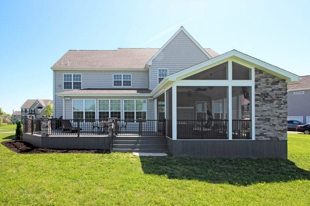 Barba - TimberTech deck and screened porch with stonework