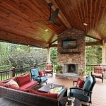 Beck - TimberTech deck and porch with fireplace