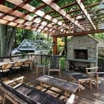 Broderick - Pressure treated pergola with stone wood-burning fireplace