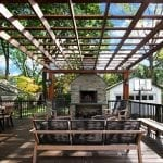Broderick - Trex Deck and Pergola with stone wood-burning fireplace