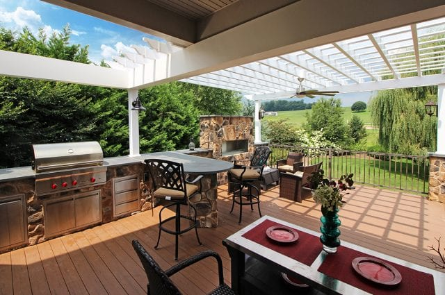 Drum - TimberTech Deck and pergola with fire featue and kitchen