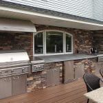 Chonko Spiced Rum Trex deck with stonework kitchen north whales pa