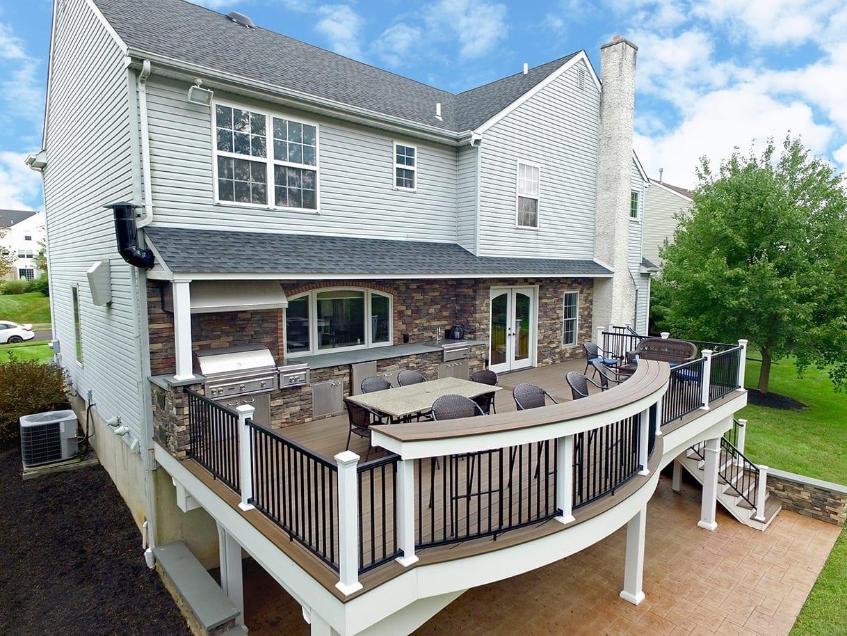 custom deck concrete patio installation north whales pa