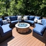 Gallagher - Timbertech antique palm deck with gas fire pit