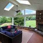 Geib - Brown Oak timbertech deck and porch with fan and lights