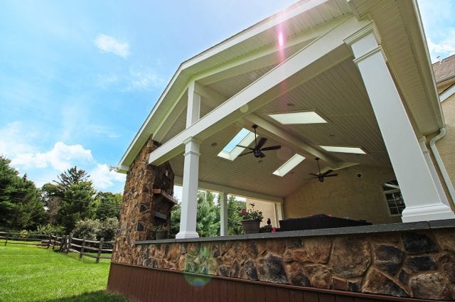 Geib - Timbertech deck and porch with stonework
