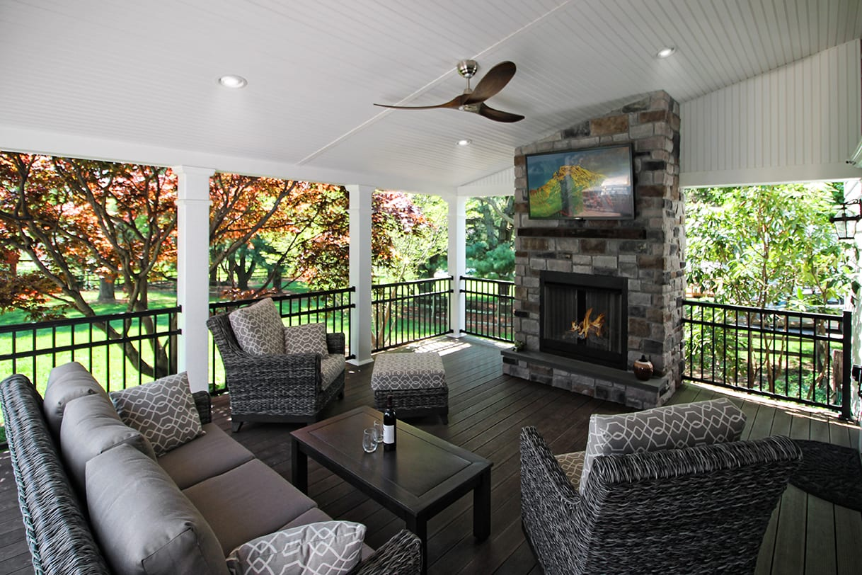 Covered Back Porch Ideas & Designs | Chester & Lancaster ... on Covered Back Deck Ideas id=50519