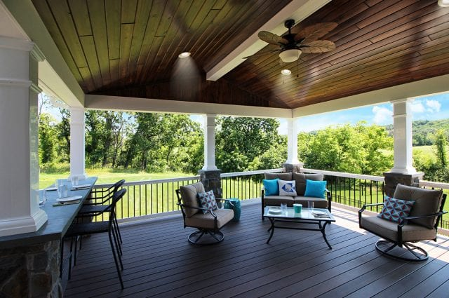 Soutner - Mocha TimberTech deck and porch with lights and fan