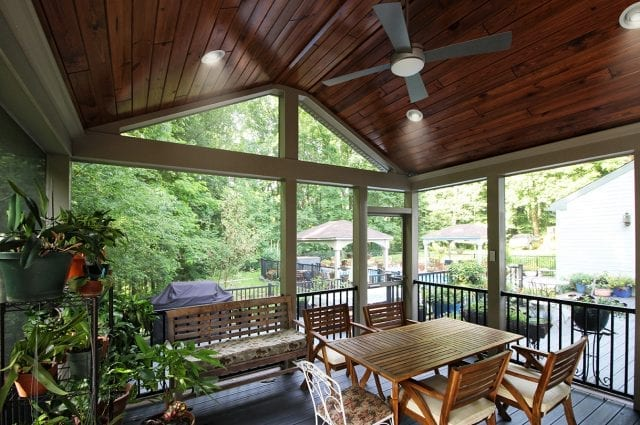 TimberTech deck and synergy ceiling covered porch