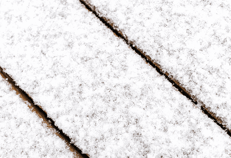 composite decking with snow and ice