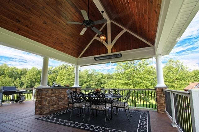 timbertech covered porch pine a frame ceiling