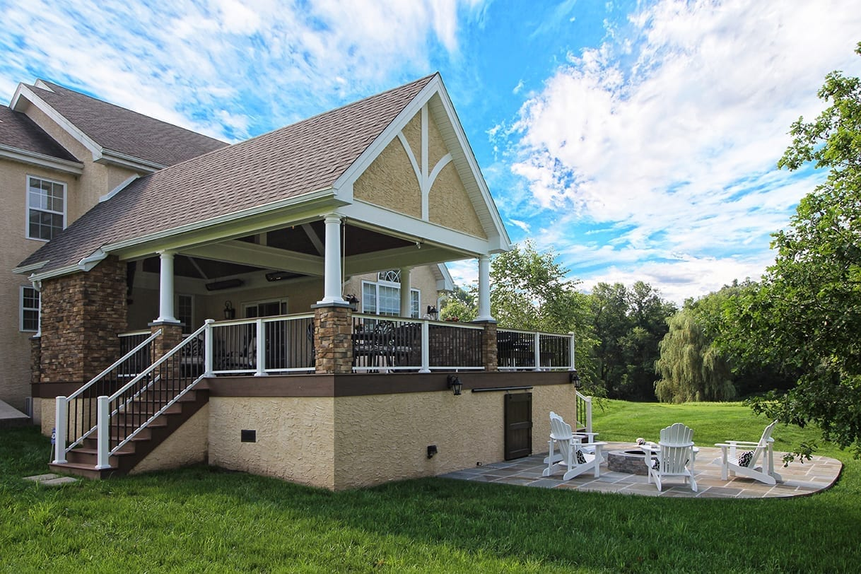 timbertech porch with fire pit and patio landenberg pa