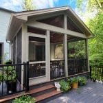 Two tier TimberTech amazon mist deck and porch installation