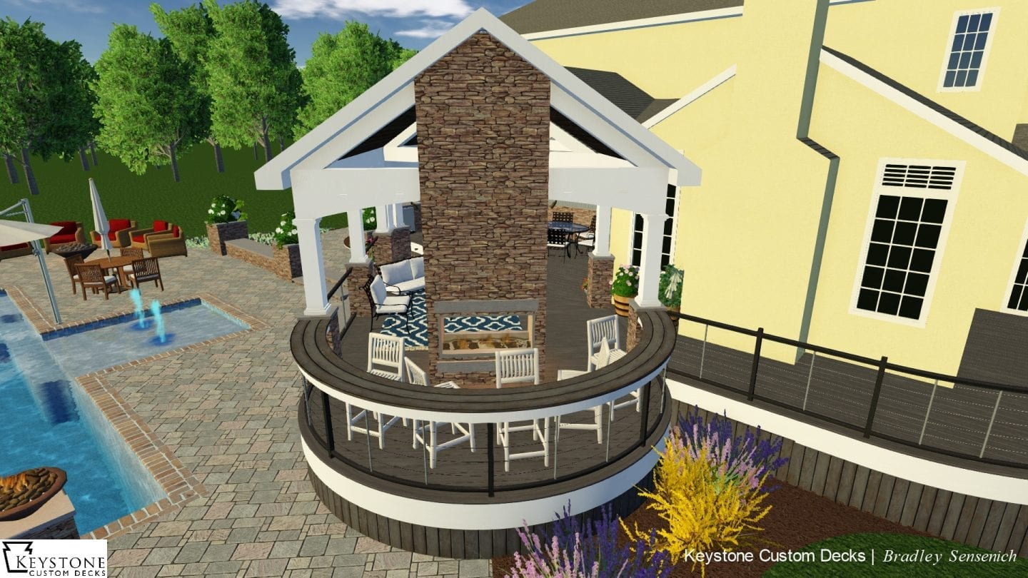 covered porch 3d rendering