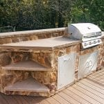 Casey - TimberTech deck with stonework outdoor kitchen