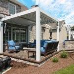 Morgan - Stamped concrete patio with Arcadia pergola