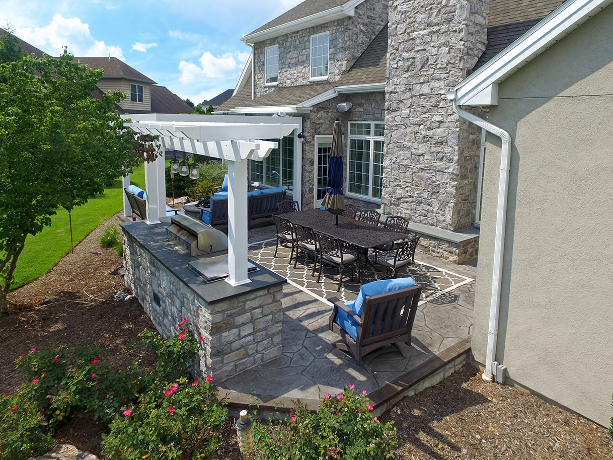Stamped Concrete Patio Pergola Lancaster Pa 485 Sq