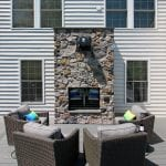 Shah - TimberTech deck with two way fireplace