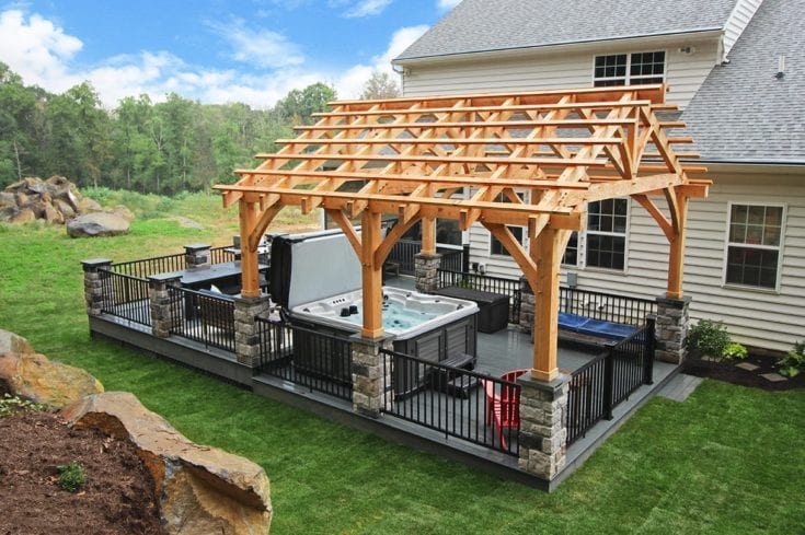 Custom Amazon Mist TimberTech Deck / Timber Frame Pergola – Elizabethtown, PA