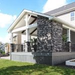 Custom Amazon Mist TimberTech Deck Porch Patio with stone wall in Collegeville, PA