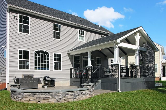 Custom Amazon Mist TimberTech Deck Porch Patio with stonework in Collegeville, PA