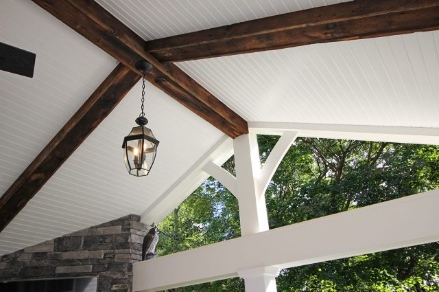 Custom Amazon Mist TimberTech Deck Porch Patio with white wooden ceiling and wooden beams in Collegeville, PA