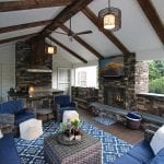 Custom Mocha TimberTech Barnwood Covered Porch with built fireplace and tv Garnet Valley, PA
