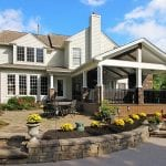 Custom Mocha TimberTech Barnwood Covered Porch with columns Garnet Valley, PA