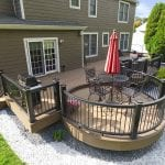 custom mocha timbertech deck with circular bump out in west chester pa