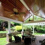 custom pergola patio porch with cathedral ceiling and white columns in birdsboro pa