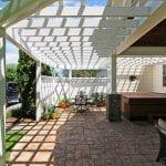 custom pergola patio porch with hot tub and brick pavers in birdsboro pa