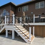 Custom Tigerwood TimberTech Deck with staircase and black and white railing Leesport, PA