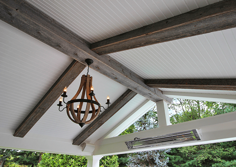 patio with hanging light fixtures