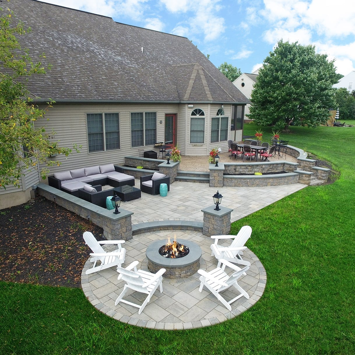 Lombardo01 Paver Patio with fire pit in lancaster pa