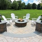 Lombardo 02 Paver patio with Techo bloc columns and fire pit
