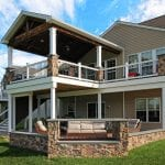 Spiced Rum custom deck and porch with patio and fire feature in downingtown pa