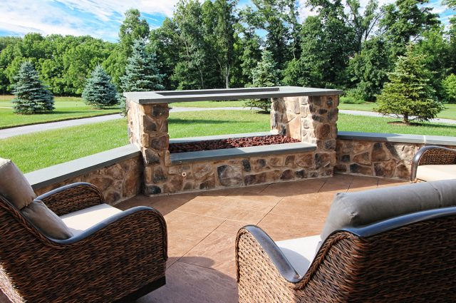 Stonework fire feature on patio in downingtown pa