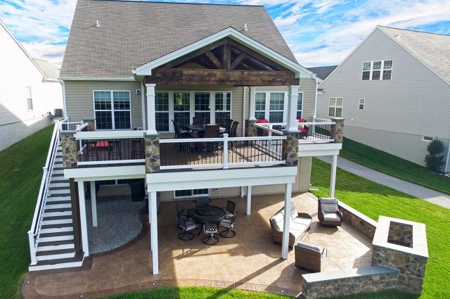 Trex customdeck and porch with patio and fire feature in downingtown pa