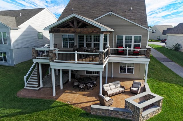 Trex deck and porch with patio and fire feature
