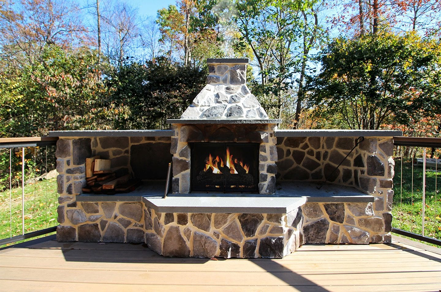 stone fire feature deck add-on