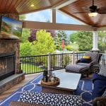 Berghuis - mocha, pecan, and tigerwood Timbertech porch with pinewood ceiling