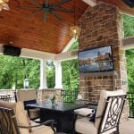 Devane - Pecan Timbertech deck and porch with outdoor heaters