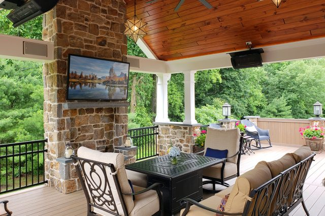 Devane - Pecan Timbertech deck and porch with pinewood ceiling